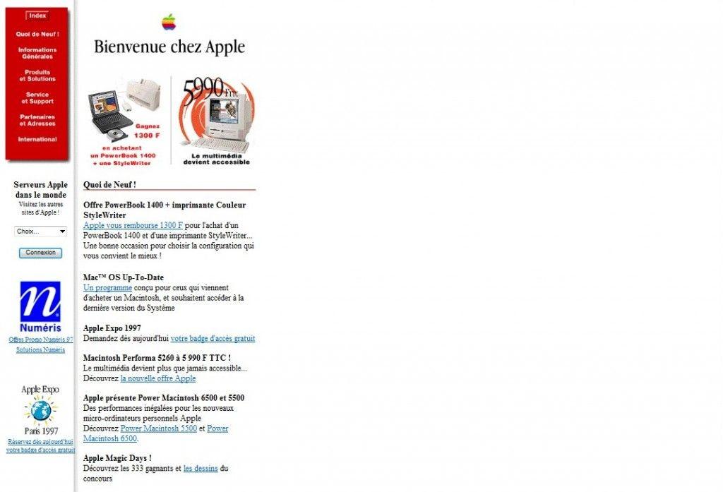 Le site Apple en 1997 - Blog Xpression-ecrite.com