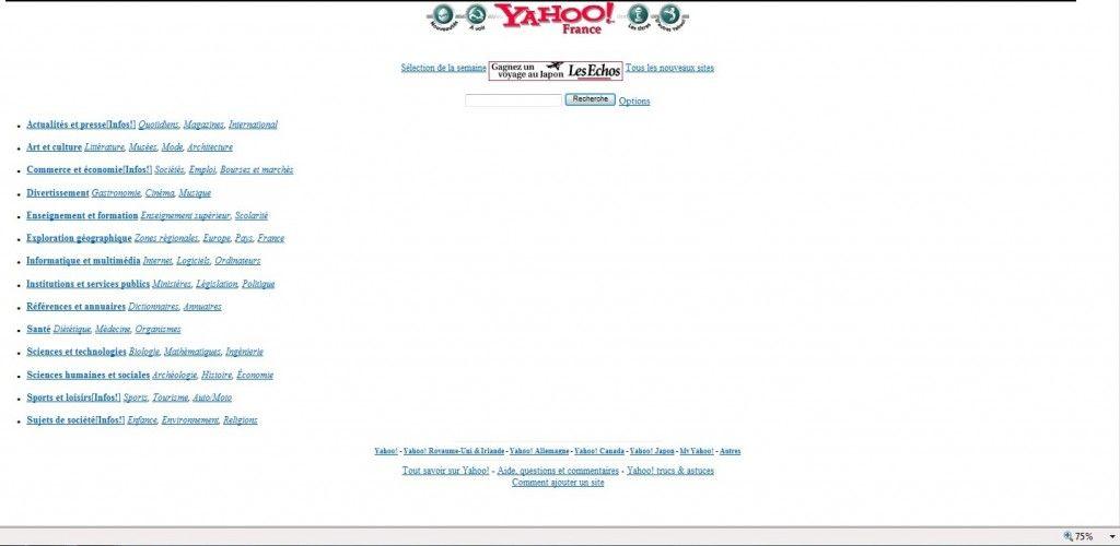 Yahoo, le 22 février 1997 : minimaliste